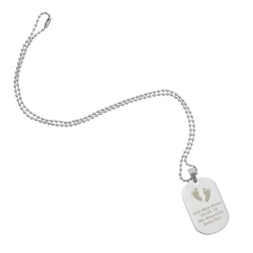 Personalised Men's Footprints Stainless Steel Dog Tag Necklace