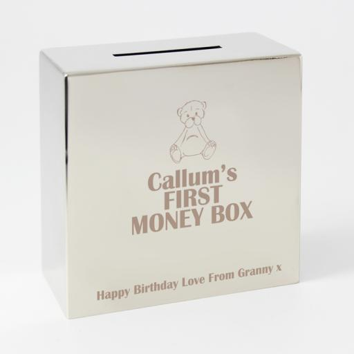 Personalised Engraved Square Silver Moneybox Teddy Bear Motif