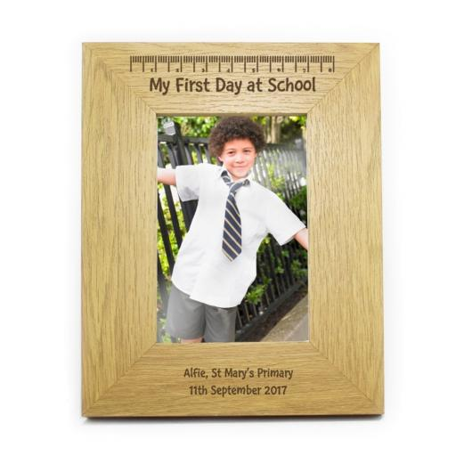 Personalised 6x4 My First Day At School Wooden Photo Frame