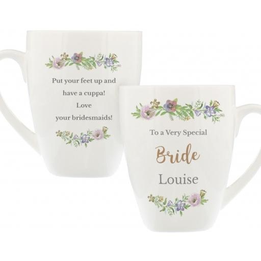 Personalised Bone China Floral Watercolour Any Role Latte Mug