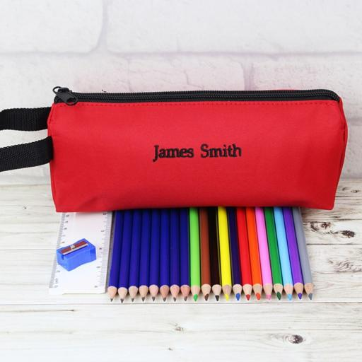 Personalised Red Pencil Case Set