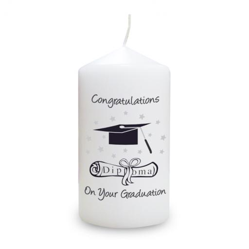 Graduation Candle Mortar Board and Scroll