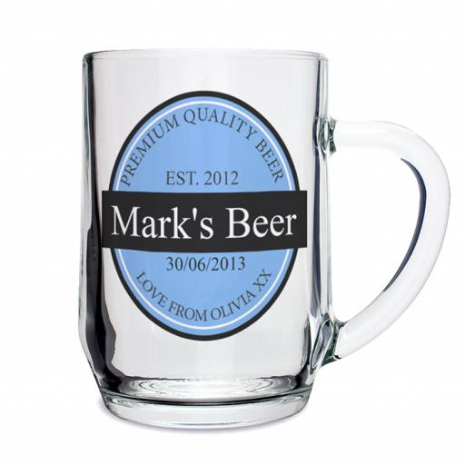 Personalised Birthday Beer Label Pint Tankard