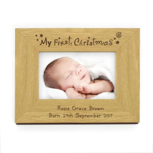 Personalised 4x6 My First Christmas Wooden Photo Frame