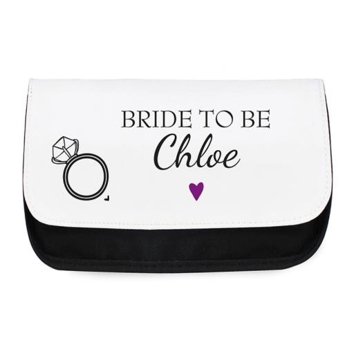 Personalised Ladies Make Up Cosmetic Bag Pouch Diamond Ring Motif