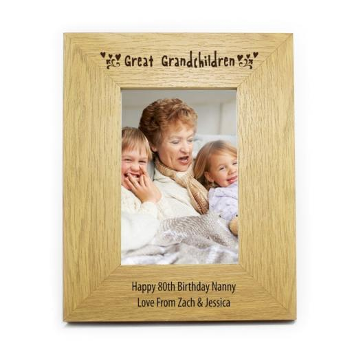 Personalised 6x4 Great Grandchildren Wooden Photo Frame