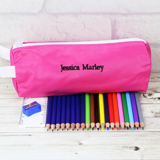 Personalised Pink Pencil Case Set