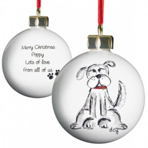 Personalised Christmas Tree Bauble Dog