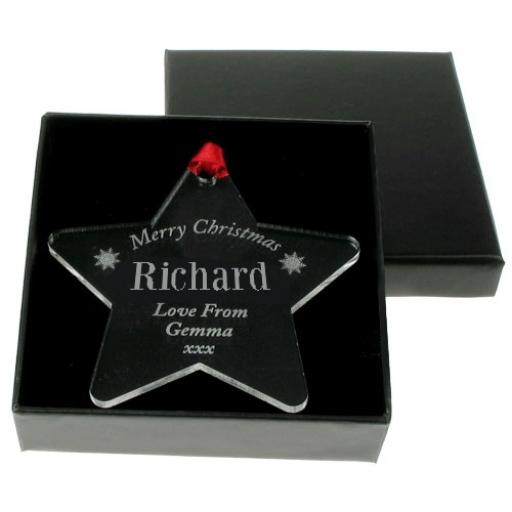 Personalised Christmas Acrylic Star Hanging Decoration Gift for Him