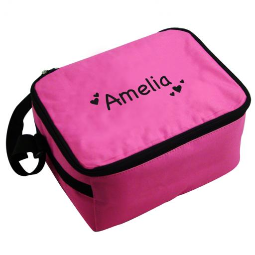 Personalised Girls Pink Lunch Bag Black Hearts Lunch Bag