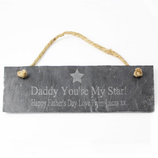 Personalised Engraved Star Motif Slate Door Plaque