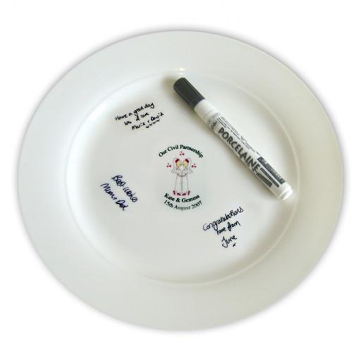 Personalised Cartoon Female Our Civil Partnership Message Plate and Pen