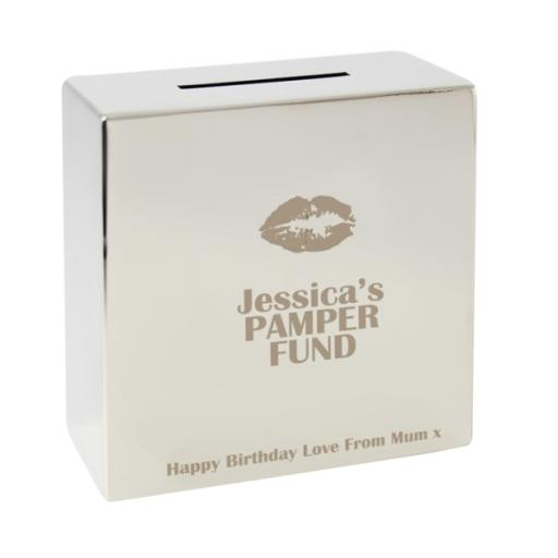Personalised Engraved Square Silver Moneybox Lips Motif