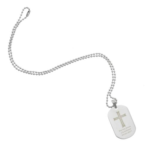 Personalised Men's Cross Stainless Steel Dog Tag Necklace