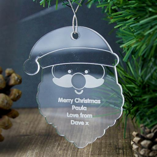 Personalised Acrylic Santa Hanging Christmas Tree Decoration