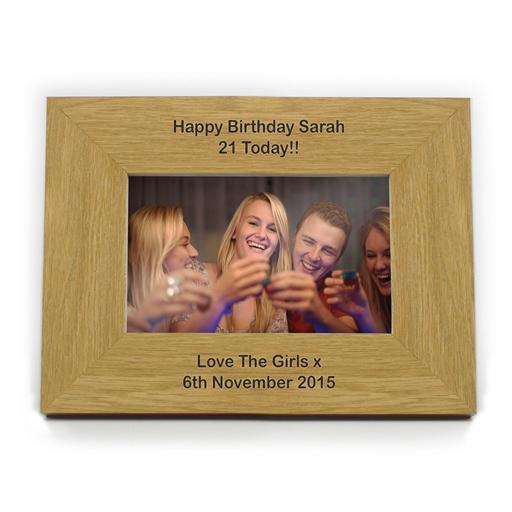 Personalised 4x6 Any Message Wooden Photo Frame Landscape