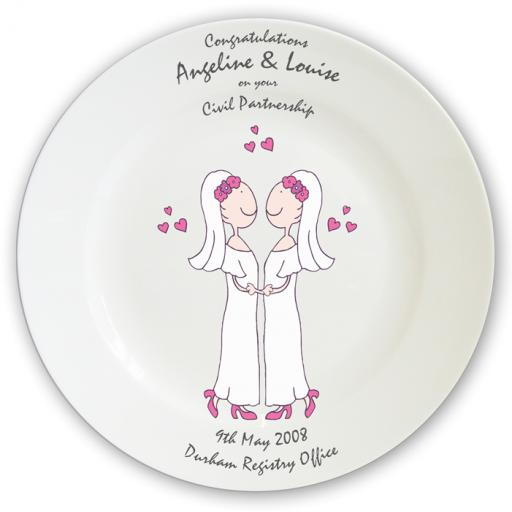 Personalised Cartoon Female Civil Partnership Plate