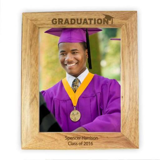 Personalised 10x8 Graduation Wooden Portrait Photo Frame