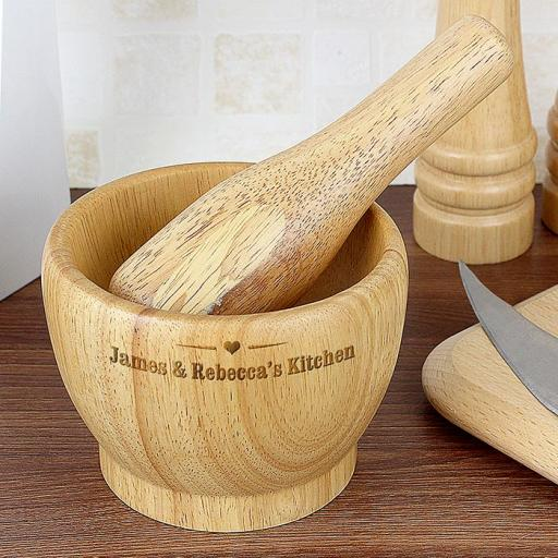 Personalised Wooden Pestle And Mortar Heart