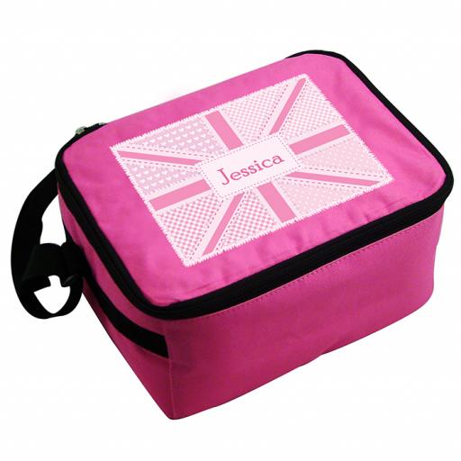 Personalised Child's Pink Patchwork Union Jack Lunch Bag