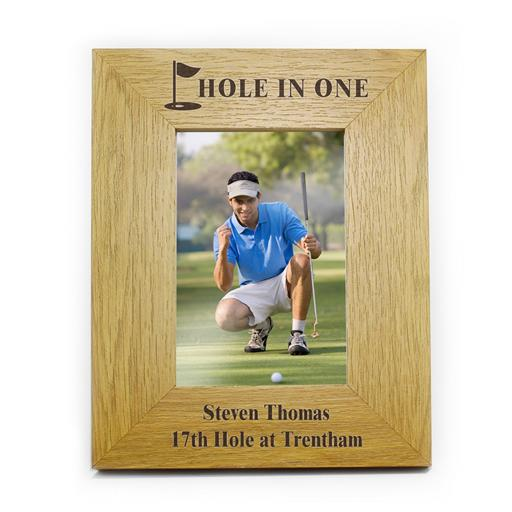 Personalised 6x4 Golf Flag Motif Wooden Frame