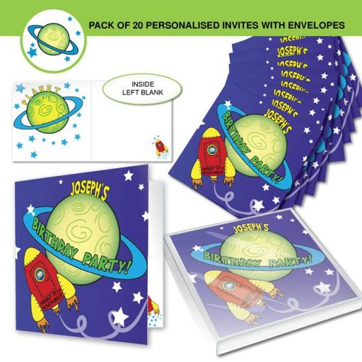 Personalised Space Party Invitations