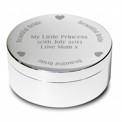 Personalised Bride Round Trinket Box Heart Motif