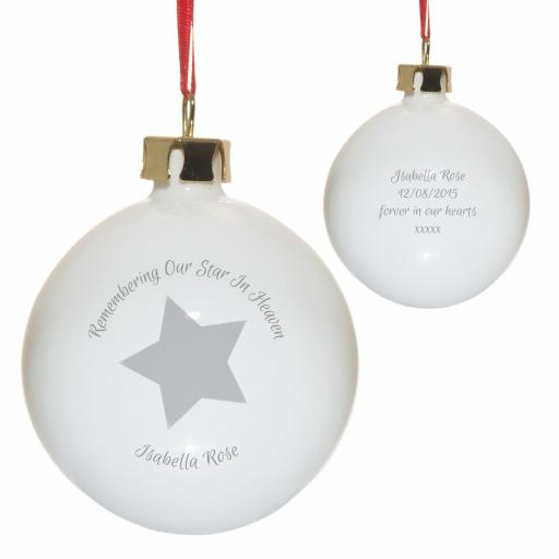 Personalised Remembering Our Star In Heaven Christmas Tree Bauble Grey