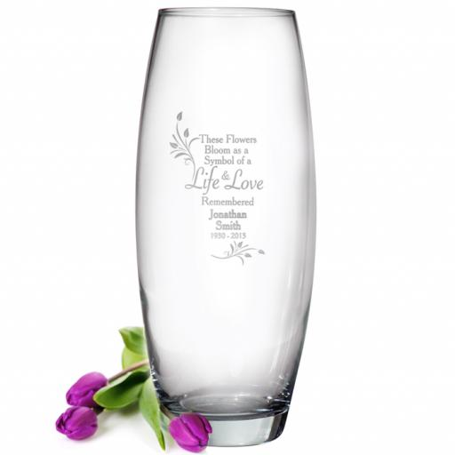 Personalised Flowers Bloom as a Symbol of a Life & Love Remembered Engraved Glass Vase
