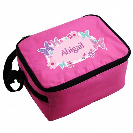 Personalised Child's Pink Butterfly Lunch Bag
