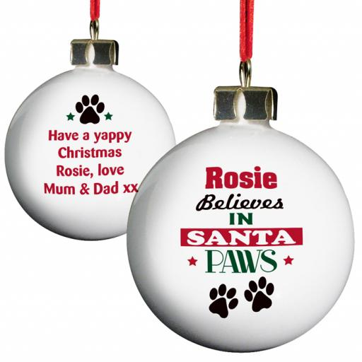 Personalised Christmas Tree Bauble Santa Paws