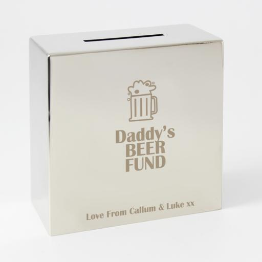 Personalised Engraved Square Silver Moneybox Beer Motif