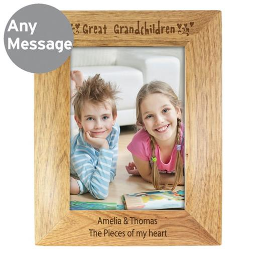 Personalised 5x7 Great Grandchildren Wooden Frame