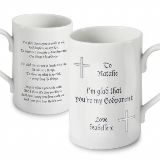 Godparent Personalised Mug Cross and Verse Design