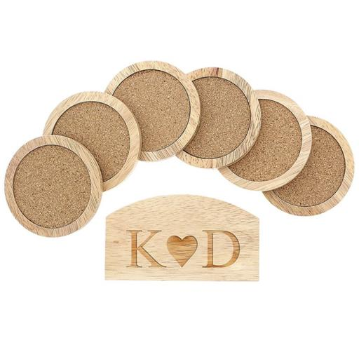 Personalised Set of 6 Wooden Coasters And Holder Monogram Heart