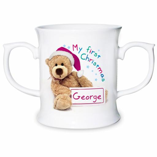 Personalised Teddy My First Christmas Loving Mug