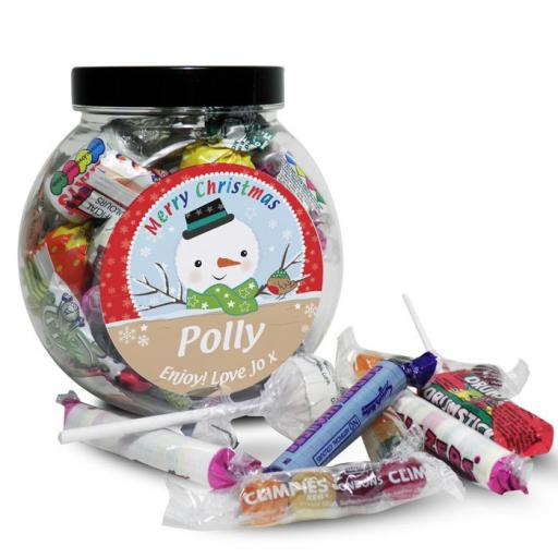 Personalised Christmas Snowman Round Sweet Jar
