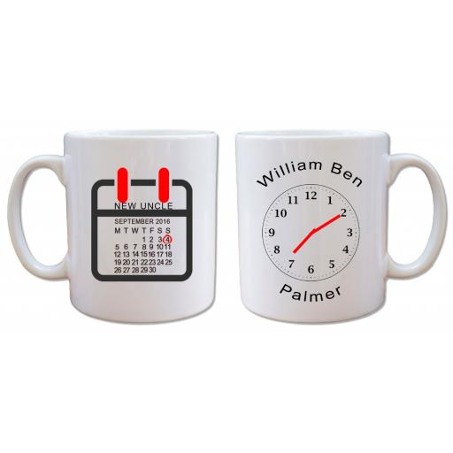 Personalised New Uncle Mug Add Name Date Time of Birth of New Baby