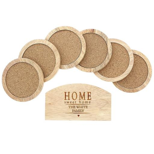 Personalised Set of 6 Wooden Coasters And Holder Home Sweet Home