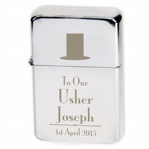 Personalised Lighter Wedding Top Hat Usher