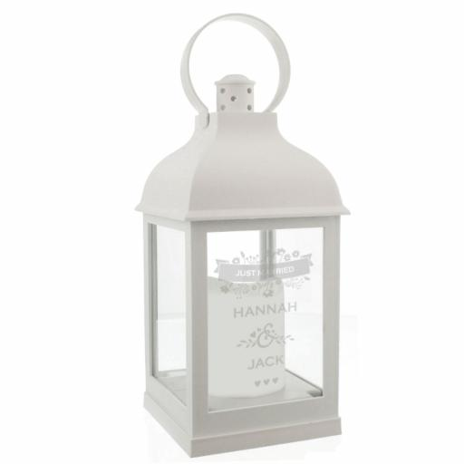Personalised Couple's Floral White Lantern