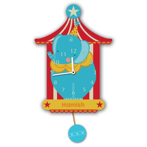 Boys Personalised Blue Circus Elephant Quartz Wall Clock Pendulum