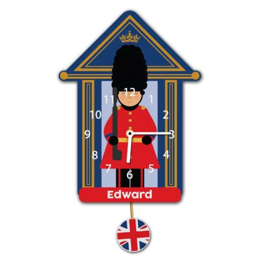 Boys Personalised Coldstream Guard Soldier Quartz Wall Clock Pendulum