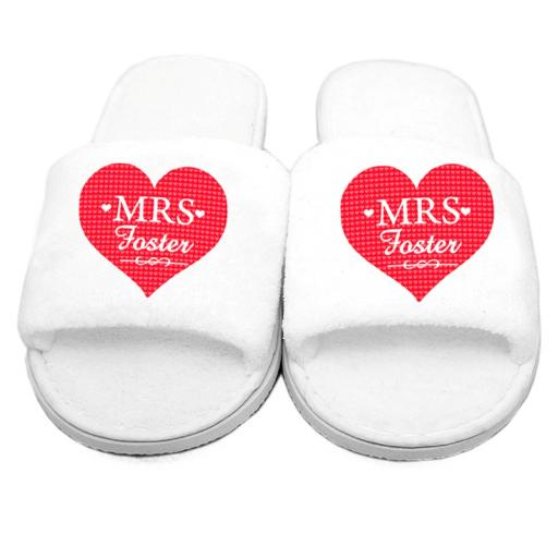 Personalised Womens Mrs Velour Slippers Open Toe