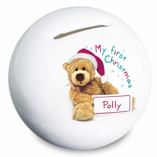 Personalised Teddy My First Christmas Moneybox