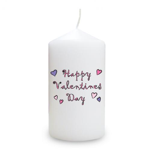 Happy Valentine's Day Candle Small Hearts Design