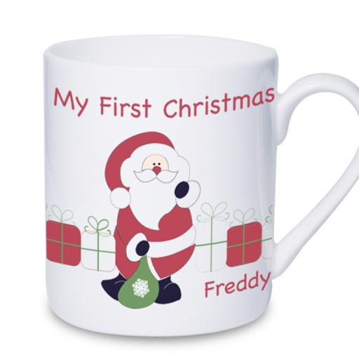 Personalised Santa with Presents First Christmas Mug