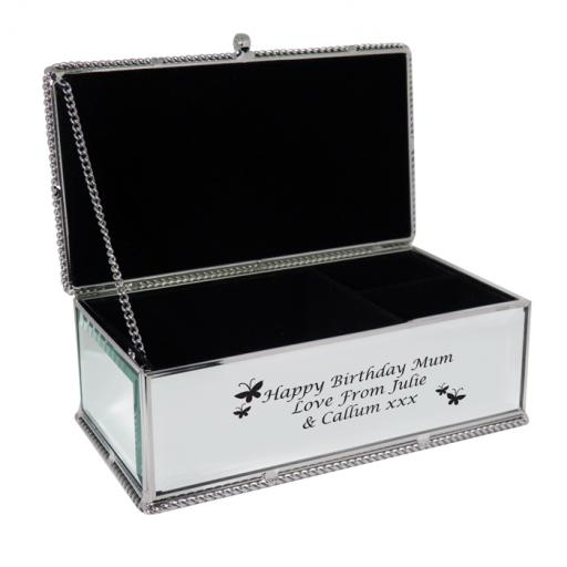 Personalised Mirrored Jewellery Box Butterfly Design