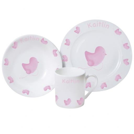 Personalised Baby Breakfast Set Pink chick Design