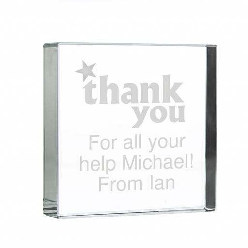 Personalised Thank You Glass Block